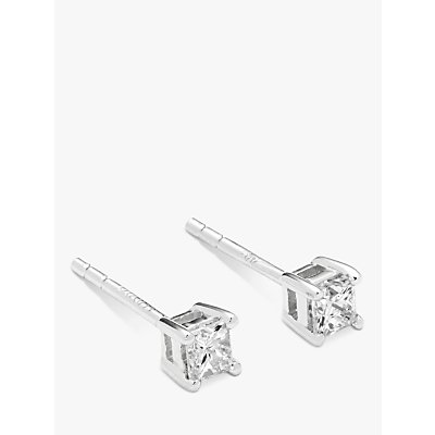 Diamond Collection 18ct White Gold Princess Cut Solitaire Diamond Stud Earrings  0 33ct - 5055258099943