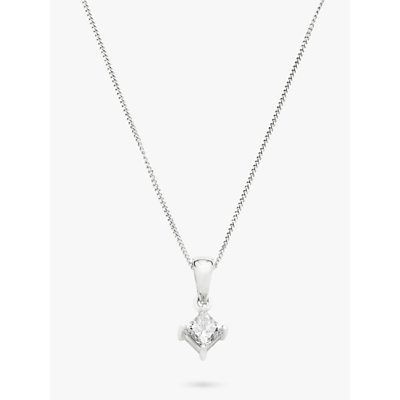 Diamond Collection 18ct White Gold Princess Cut Solitaire Diamond Pendant Necklace  0 5ct - 5055258099981