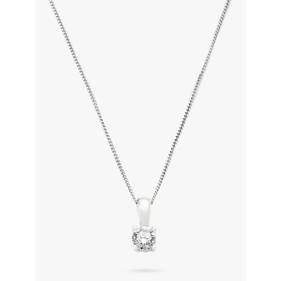 Diamond Collection 18ct White Gold Round Brilliant Solitaire Diamond Pendant Necklace  0 5ct - 5055258099707