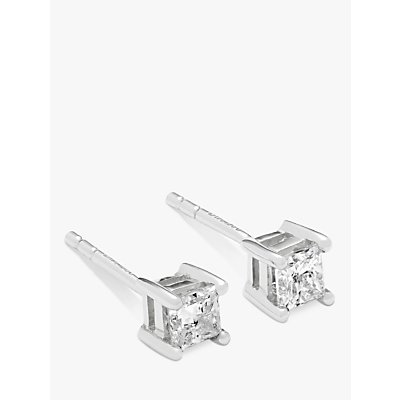 Diamond Collection 18ct White Gold Princess Cut Solitaire Diamond Stud Earrings  0 5ct - 5055258099950