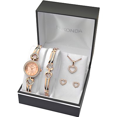 Sekonda 2363G Women s Jewellery Strap Watch  Bracelet  Pendant Necklace and Earrings Gift Set  Rose Gold - 5051322236313
