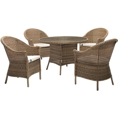 KETTLER RHS Harlow Carr 4 Seater Garden Table and Chairs Set  Natural - 5015404713314