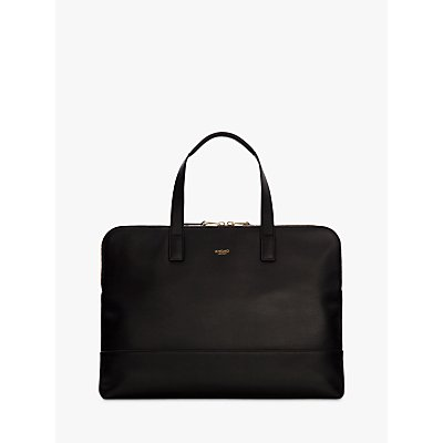 Knomo Reeves Slim Leather Briefcase for Laptops up to 14  Black - 5055385418297