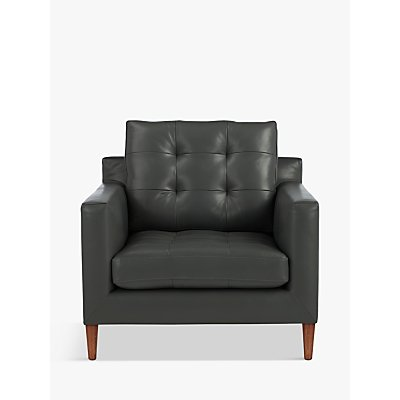 John Lewis & Partners Draper Leather Armchair, Dark Leg
