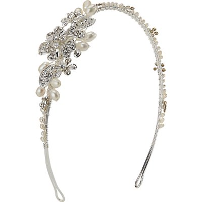 Ivory   Co  Cubic Zirconia Pave and Freshwater Pearl Side Headpiece  Silver - 23377684
