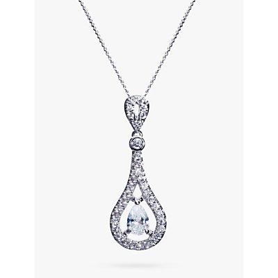 Ivory   Co  Cubic Zirconia Pave Teardrop Pendant Necklace  Silver - 23378223