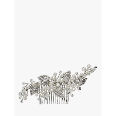 Ivory   Co  Faux Pearl and Cubic Zirconia Pave Leaf Hair Comb  Silver - 23377875