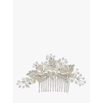Ivory   Co  Crystal and Faux Pearl Flower Hair Slide  Silver - 23377929