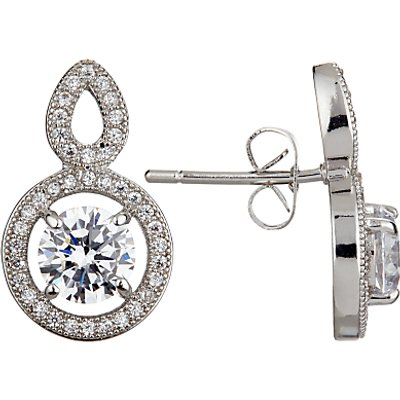 Ivory   Co  Round Cubic Zirconia Pave Drop Earrings  Silver - 23377479