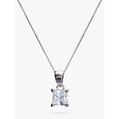 Ivory   Co  Princess Cut Solitaire Cubic Zirconia Pendant Necklace  Silver Clear - 23378292