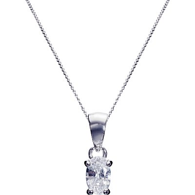 Ivory   Co  Oval Solitaire Cubic Zirconia Pendant Necklace  Silver Clear - 23378247