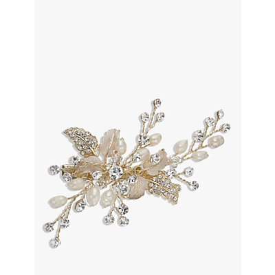 Ivory   Co  Crystal and Freshwater Pearl Hair Slide  Gold - 23377905