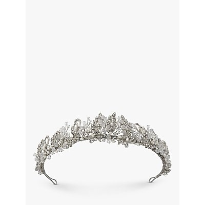 Ivory   Co  Freshwater Pearl and Cubic Zirconia Pave Tiara  Silver - 23377622
