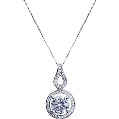 Ivory   Co  Round Cubic Zirconia Pave Drop Pendant Necklace  Silver - 23378230