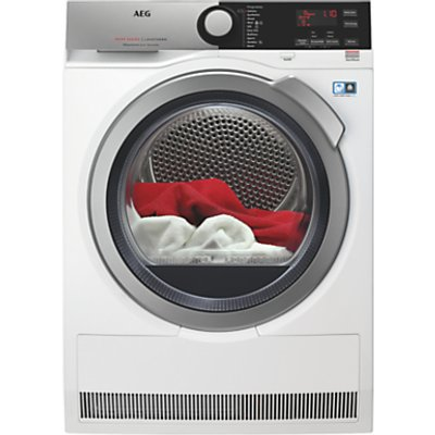 AEG T8DEE845R 8000 Series Heat Pump Tumble Dryer, 8kg Load, A++ Energy Rating, White