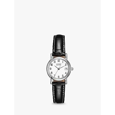 Citizen EW1270 06A Women s Date Leather Strap Watch  Black White - 5060045475060