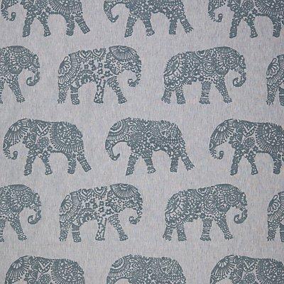 John Lewis Elephant Embroidery Furnishing Fabric  Blue - 23345287