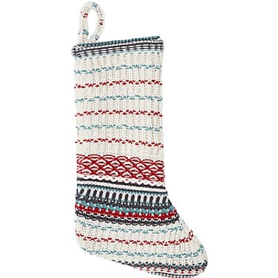 John Lewis Folklore Welsh Knit Cotton Christmas Stocking - 23478121
