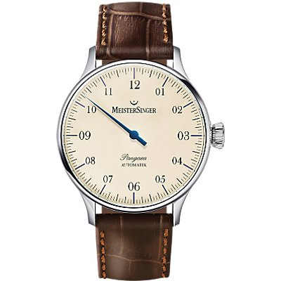 MeisterSinger PM903 Unisex Pangaea Automatic Leather Strap Watch  Brown Cream - 4250814301022