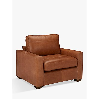 House by John Lewis Oliver Leather Armchair, Luster Cappuccino