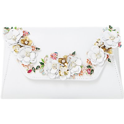 Dune Bathilda Leather Floral Trim Clutch Bag  White - 5057137549006