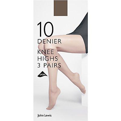John Lewis & Partners 10 Denier Knee High Socks, Pack of 3