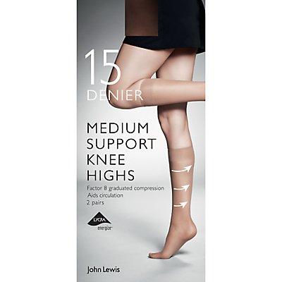 John Lewis & Partners 15 Denier Medium Support Knee High Socks, Pack of 2