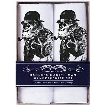 Chase and Wonder Manners Maketh Man Handkerchiefs  Pack of 2  White - 5060422442012