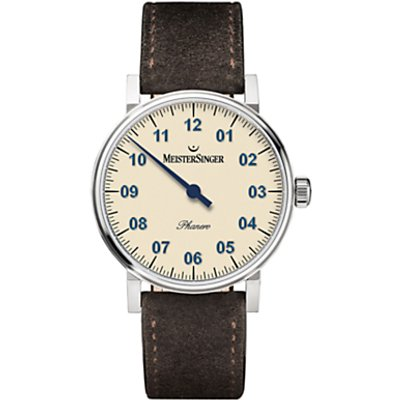 MeisterSinger PH303 Unisex Phanero Leather Strap Watch  Dark Brown Cream - 4250814309653