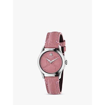 Gucci YA126578 Women s G Timeless Signature Leather Strap Watch  Pink - 0731903409552