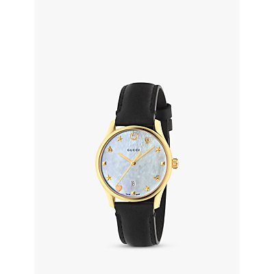 Gucci YA126589 Women s G Timeless Date Leather Strap Watch  Black Mother of Pearl - 0731903407435