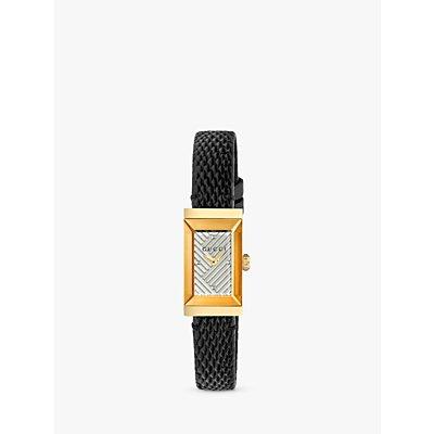 Gucci YA147507 Women s G Frame Rectangular Leather Strap Watch  Black White - 0731903407251