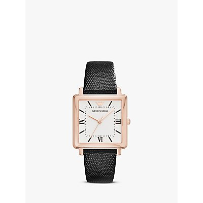 Emporio Armani AR11067 Women s Square Leather Strap Watch  Black White - 4053858896062