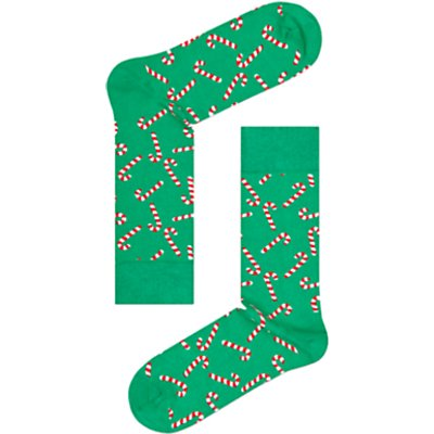 Happy Socks Christmas Candy Cane Socks  One Size  Green Multi - 7333102105650
