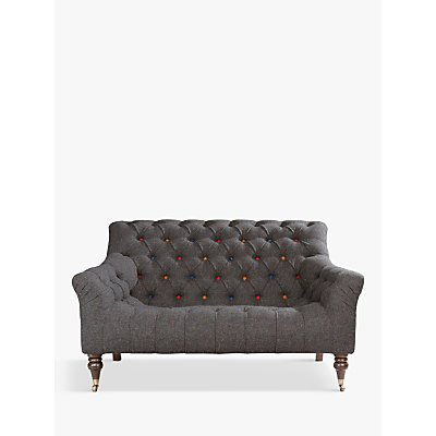 Tetrad Skittle Button Detail Petite 2 Seater Sofa, Antique Brass Castors