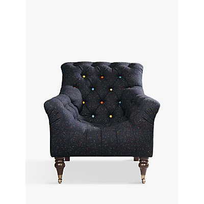 Tetrad Harris Tweed Skittle Button Detail Chair, Antique Brass Castors