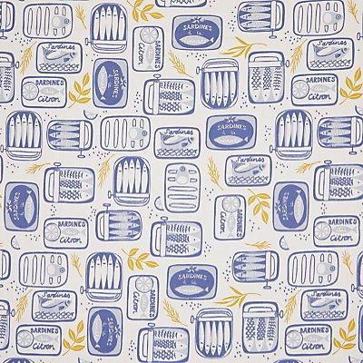 John Lewis Sardines in a Tin PVC Tablecloth Fabric  Blue - 23891708