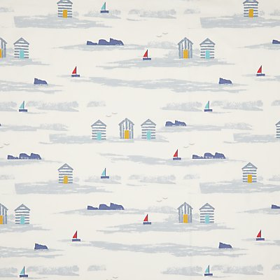 John Lewis Margate Beach Huts Furnishing Fabric  Blue - 23891845