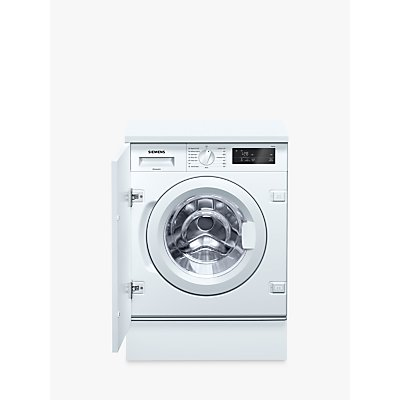 Siemens WI14W300GB Integrated Washing Machine, 8kg Load, A+++ Energy Rating, 1355rpm Spin, White