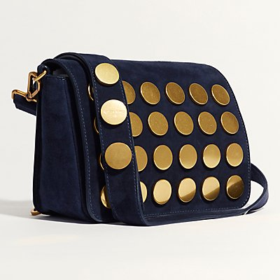 Karen Millen Suede Coin Studded Cross Body Satchel Bag  Navy - 5054236220065