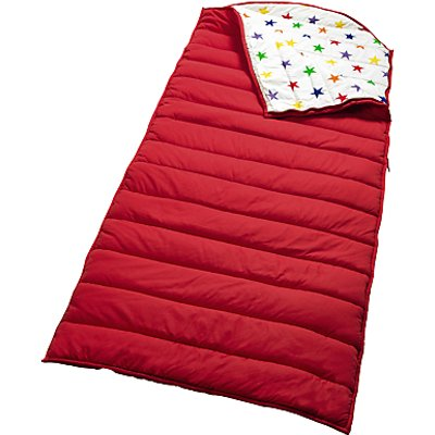 Great Little Trading Co Quilted Sleeping Bag, Red/Rainbow Star