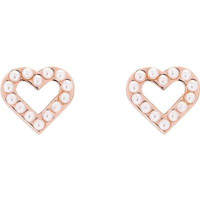 Ted Baker Faux Pearl Heart Stud Earrings  Rose Gold - 5055336358283
