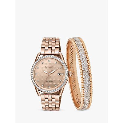 Citizen FE6113 57X SET Women s Eco Drive Swarovski Crystal Date Bracelet Strap Watch and Bangle Gift Set  Rose Gold - 5060287468141