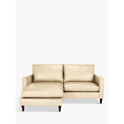John Lewis & Partners Bailey Leather LHF Chaise End Sofa, Dark Leg