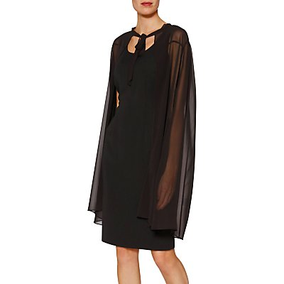 Gina Bacconi Amber Chiffon Cape Dress, Black