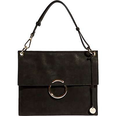 Karen Millen Leather O Ring Flapover Shoulder Bag - 5054236238862