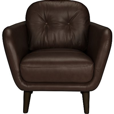House by John Lewis Arlo Leather Armchair, Dark Leg