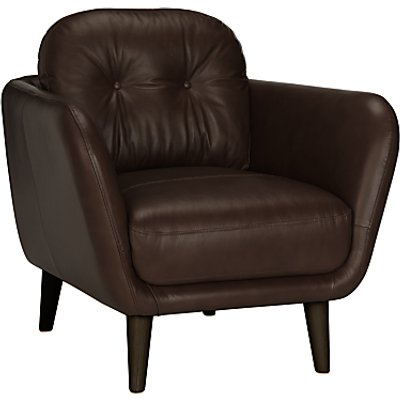 House by John Lewis Arlo Leather Armchair, Milan Dark Brown