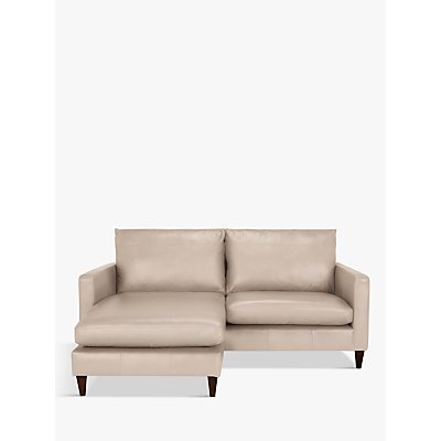 John Lewis & Partners Bailey Leather LHF Chaise End Sofa, Dark Leg