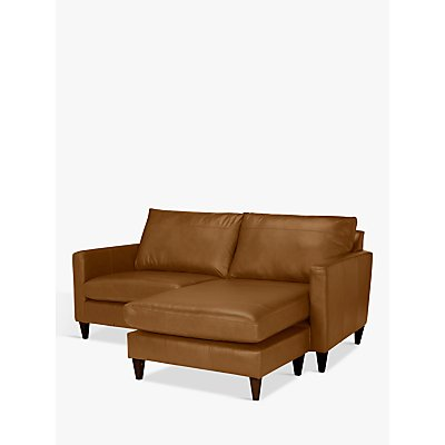 John Lewis Bailey Leather RHF Chaise End Sofa, Dark Leg